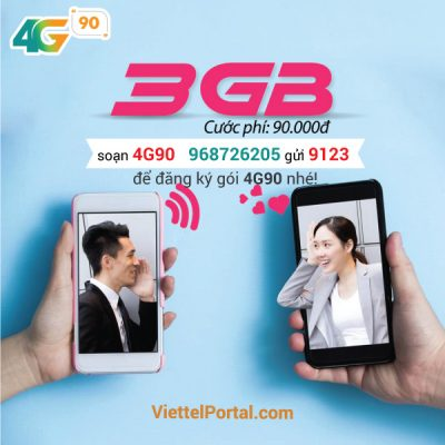 Đăng ký gói 4G90 Viettel có ngay 3GB lưu lượng