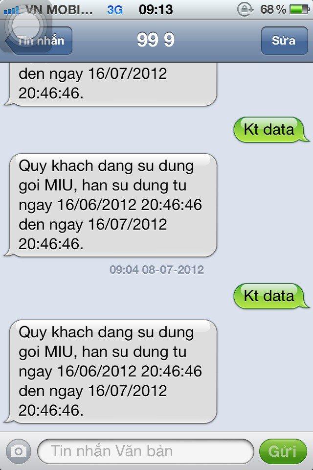 kiểm tra dung lượng 3G/4G Mobifone